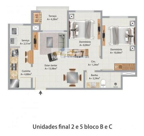 apartamento 2 dormitórios - potecas, são josé / santa catarina - 2953-103b