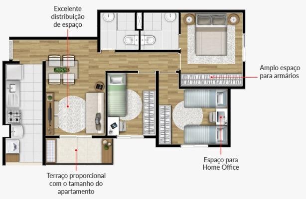 apartamento 2 dormitórios pronto no campestre santo andre