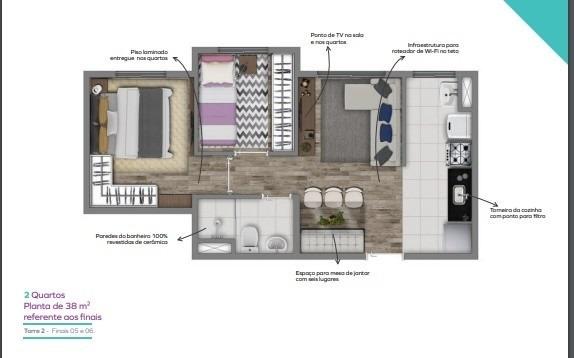 apartamento 2 dormitórios santo amaro c 1 vaga