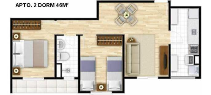 apartamento 2 dormitórios semi mobiliado i lazer completo