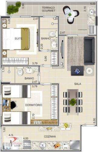 apartamento 2 dormitórios sendo 1 suíte sacada com churrasqueira - ap1650