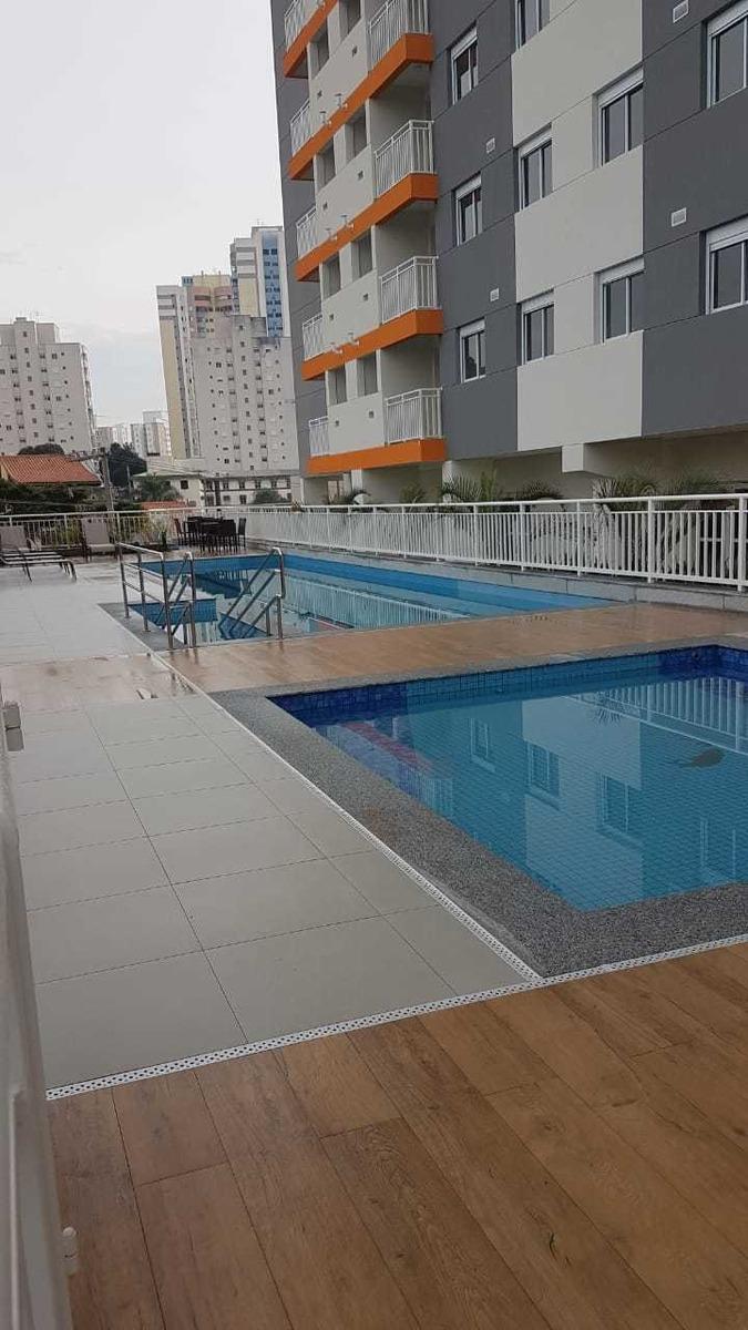 apartamento 2 quartos, 1 suite, varanda e lazer com piscina.