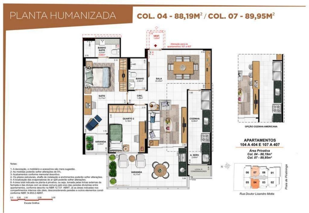 apartamento 2 quartos, vista mar - ap0686