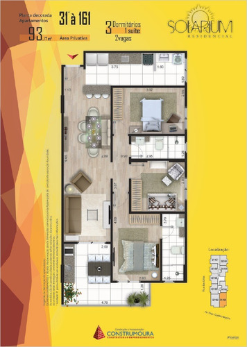 apartamento 2 quartos,1 suíte,1 vaga na garagem,2 banheiros