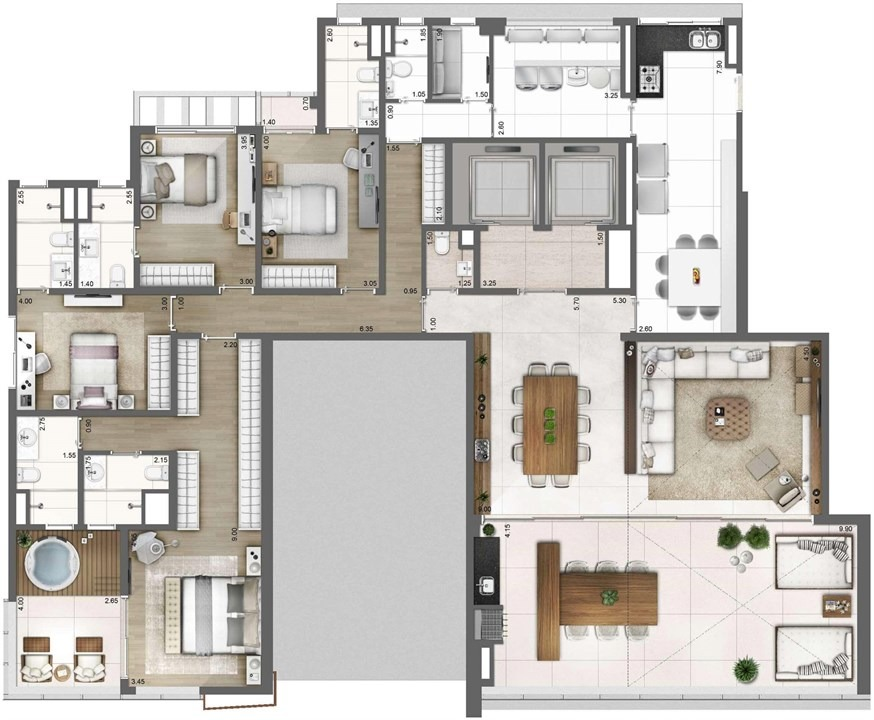 apartamento 275m 4 suites 4 a 6 vgs deposito  vl olimpia s.p