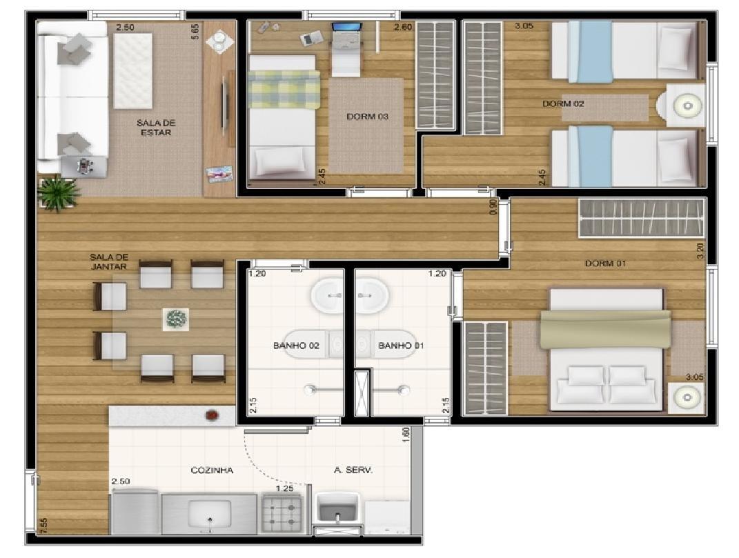 apartamento 3 dorm no jd vl formosa
