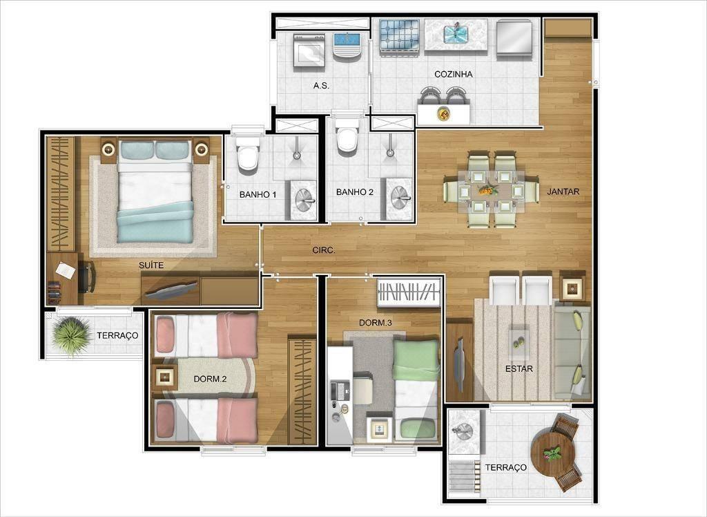 apartamento 3 dormitórios (1 suíte) 2 vagas shopping maia guarulhos lazer completo - ap1215