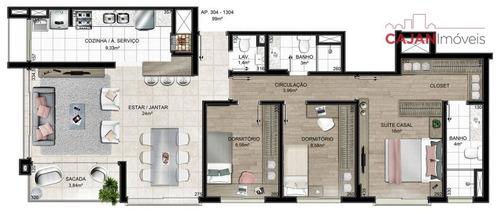 apartamento 3 dormitórios com 2 vagas de garagem no bairro menino deus - ap2678