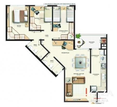 apartamento 3 dormitórios em palhoça no pagani - 3761
