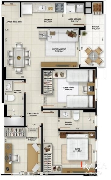 apartamento 3 dormitórios em palhoça no pagani - 3762
