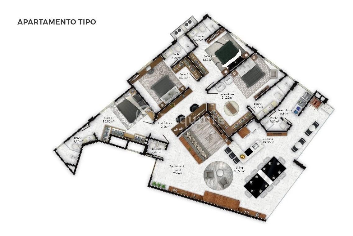 apartamento 4 suítes mobiliado frente mar itapema - 1852