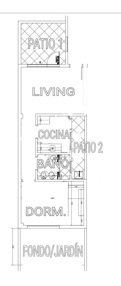 apartamento 40 m2 con jardín y patios