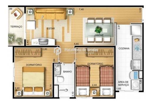 apartamento. 50 metros. cozinha americana. 2 quatros