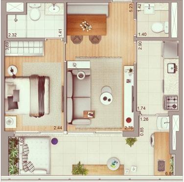 apartamento  53m², 1 dormitório e 1 vaga,  a 500 metros do morumbi shopping!. - ap10266