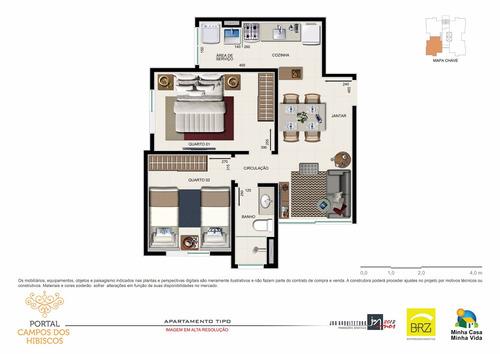 apartamento a venda 02 dormitórios 50,0 metros