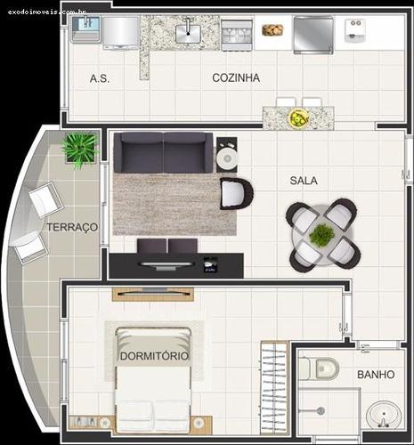 apartamento a venda em praia grande, caiçara, 2 dormitórios, 1 suíte, 2 banheiros, 1 vaga - ap156