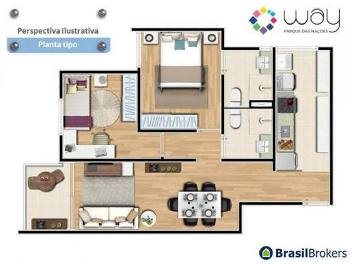 apartamento a venda em santo andré, parque das nações, 2 dormitórios, 1 suíte, 2 banheiros, 1 vaga - way