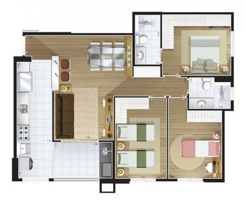 apartamento a venda em são caetano do sul, fundação, 3 dormitórios, 1 suíte, 2 banheiros, 2 vagas - la vita1