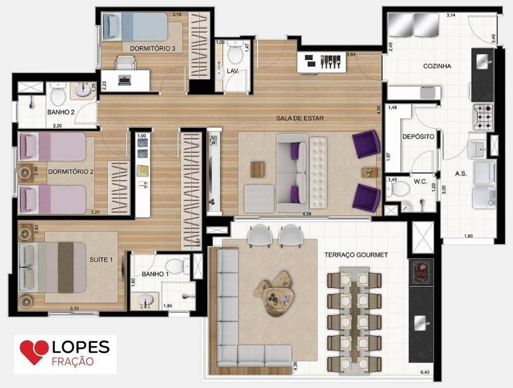 apartamento com 03 suítes, 02 vagas  em condomínio clube - ap1557