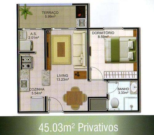 apartamento com 1 dorm, mirim, praia grande - r$ 226.000,00, 43,93m² - codigo: 412629 - v412629