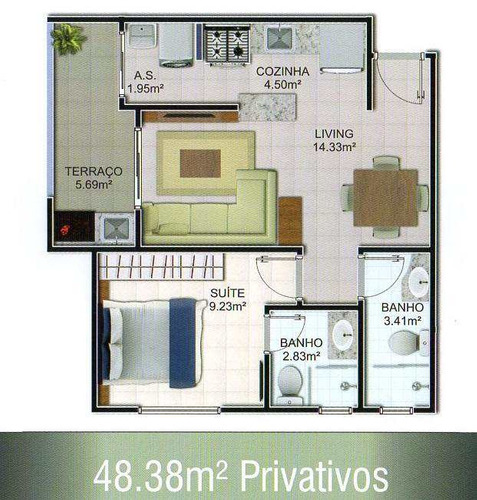 apartamento com 1 dorm, mirim, praia grande - r$ 250.000,00, 48,38m² - codigo: 412636 - v412636