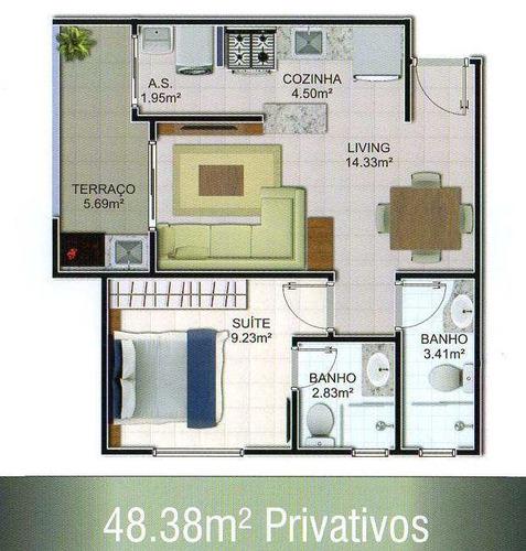 apartamento com 1 dorm, mirim, praia grande - r$ 260.000,00, 48,38m² - codigo: 412633 - v412633