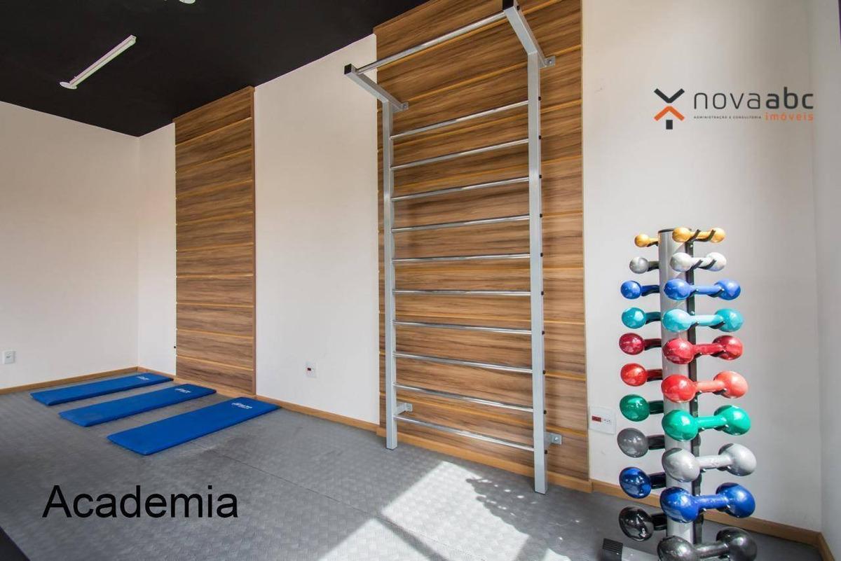 apartamento com 1 dormitório para alugar, 41 m² por r$ 1.250/mês - vila valparaíso - santo andré/sp - ap0664
