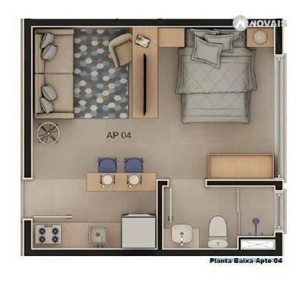 apartamento com 1 dormitório à venda, 24 m² por r$ 123.584,40 - rio branco - novo hamburgo/rs - ap2296