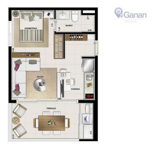 apartamento com 1 dormitório à venda, 35 m² por r$ 452.230 - campo belo - são paulo/sp - st0121