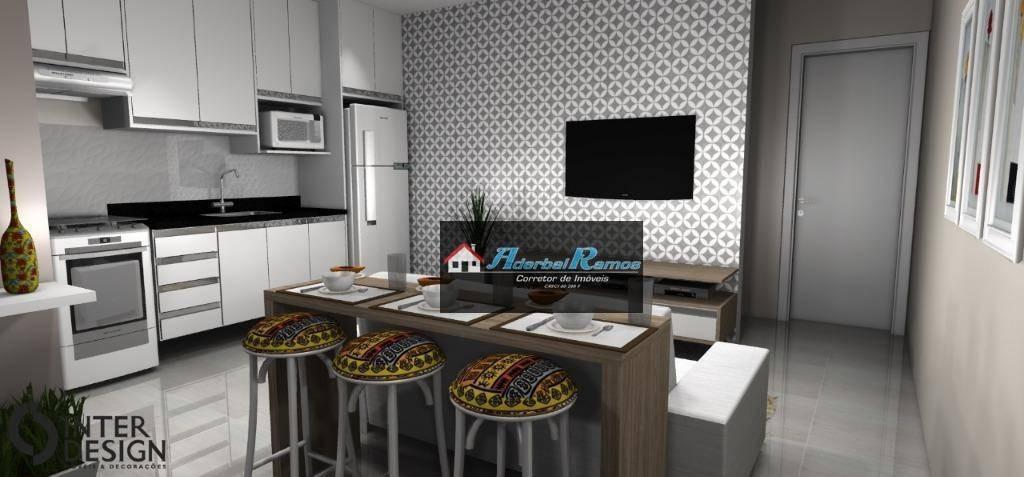 apartamento com 1 dormitório à venda, 38 m² por r$ 168.000 - jardim barra de jangada - peruíbe/sp - ap0485