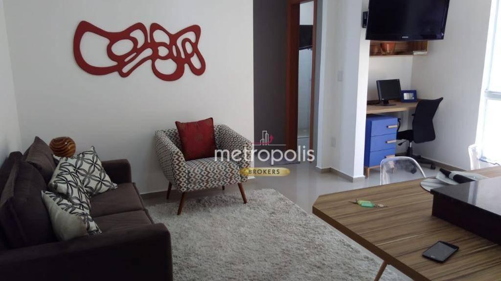 apartamento com 1 dormitório à venda, 38 m² por r$ 340.000 - nova gerti - são caetano do sul/sp - ap2849
