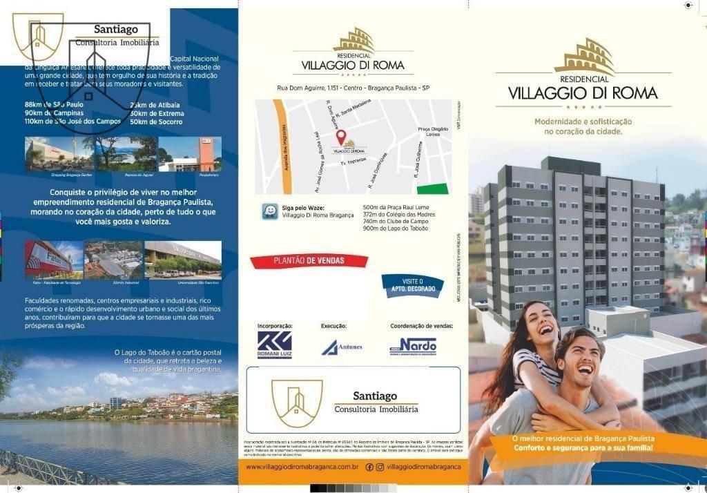 apartamento com 1 dormitório à venda, 41 m² por r$ 255.000 - centro - bragança paulista/sp - ap0127