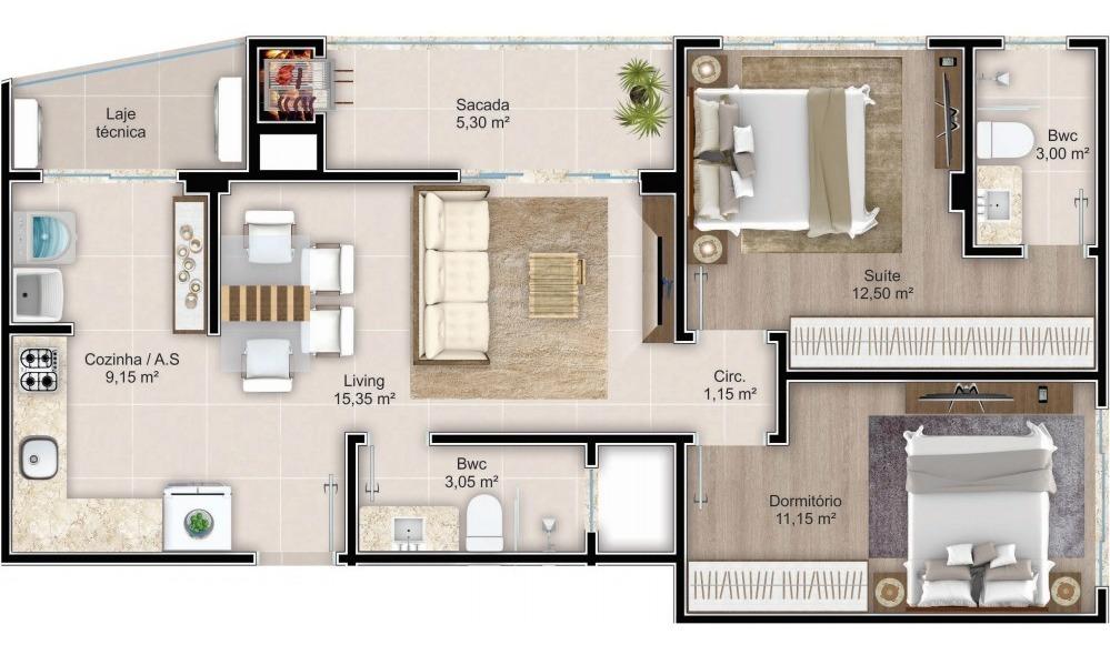 apartamento com 1 quartos para comprar no varzea em itapema/sc - 2514