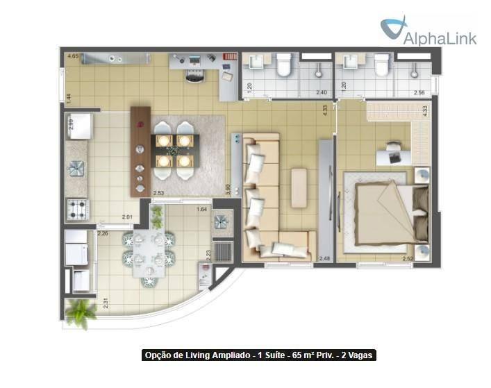 apartamento com 2 dormitórios no bellagio, alphaville - ap1730