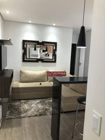 apartamento com 2 dormitórios para alugar, 49 m² por r$ 2.400/mês - condomínio atua  vila endres - guarulhos/sp - ap3540
