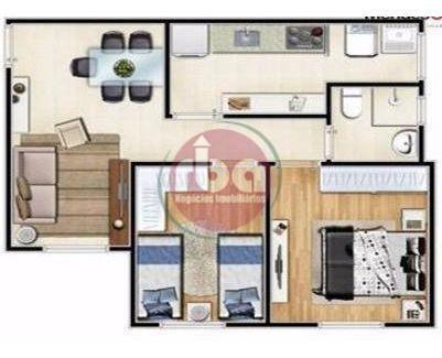 apartamento com 2 dormitórios para alugar, 54 m² por r$ 1.087/mês - além ponte - sorocaba/sp - ap0808