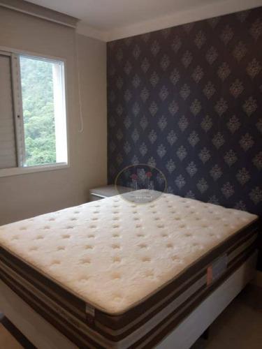 apartamento com 2 dormitórios para alugar, 64 m² por r$ 3.300/mês - marapé - santos/sp - ap4115