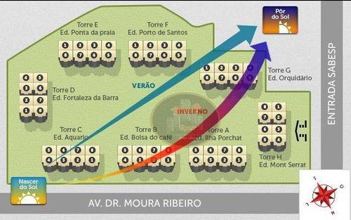 apartamento com 2 dormitórios para alugar, 84 m² por r$ 3.100/mês - marapé - santos/sp - ap3058