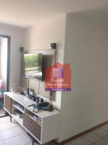 apartamento com 2 dormitórios à venda, 105 m² por r$ 260.000 - candelária - natal/rn v0746 - ap0366