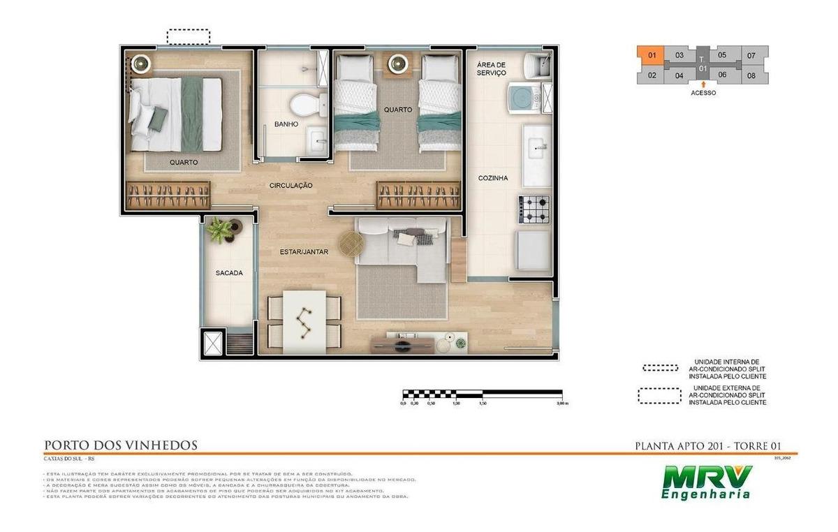 apartamento com 2 dormitórios à venda, 41 m² por r$ 182.900,00 - panazzolo - caxias do sul/rs - ap0052
