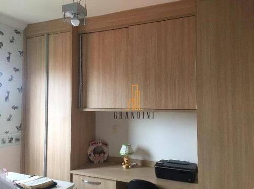 apartamento com 2 dormitórios à venda, 65 m² por r$ 350.000 - campestre - santo andré/sp - ap1221