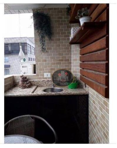 apartamento com 2 dormitórios à venda, 70 m² por r$ 395.000 - estuário - santos/sp - ap3062