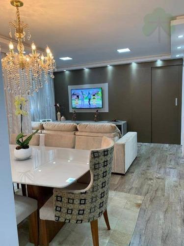 apartamento com 2 dormitórios à venda, 73 m² por r$ 495.000 - jardim wanda - taboão da serra/sp - ap0789