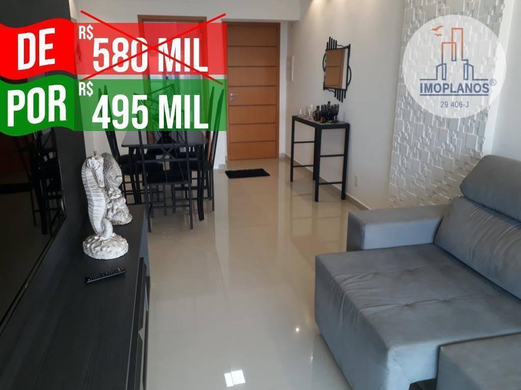 apartamento com 2 dormitórios à venda, 89 m² por r$ 495.000,00 - canto do forte - praia grande/sp - ap9755