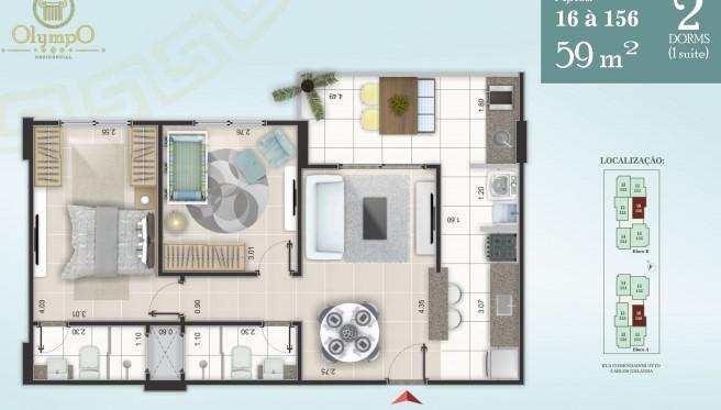 apartamento com 2 dorms, ocian, praia grande - r$ 280.000,00, 59m² - codigo: 413132 - v413132