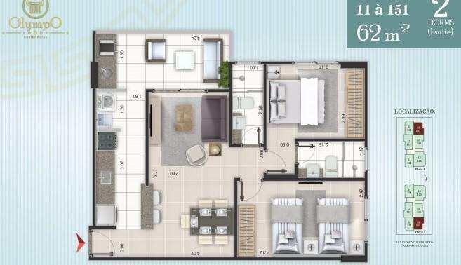 apartamento com 2 dorms, ocian, praia grande - r$ 290.000,00, 62m² - codigo: 413175 - v413175