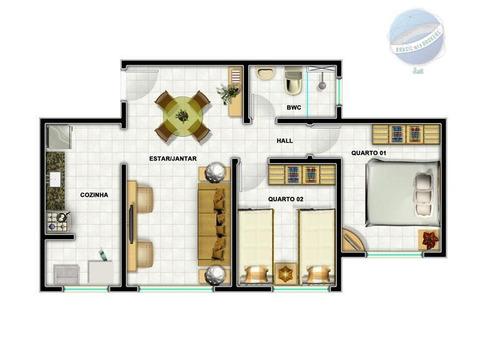 apartamento com 2 quartos em pajuçara, natal/rn - residencial florais - ap0143