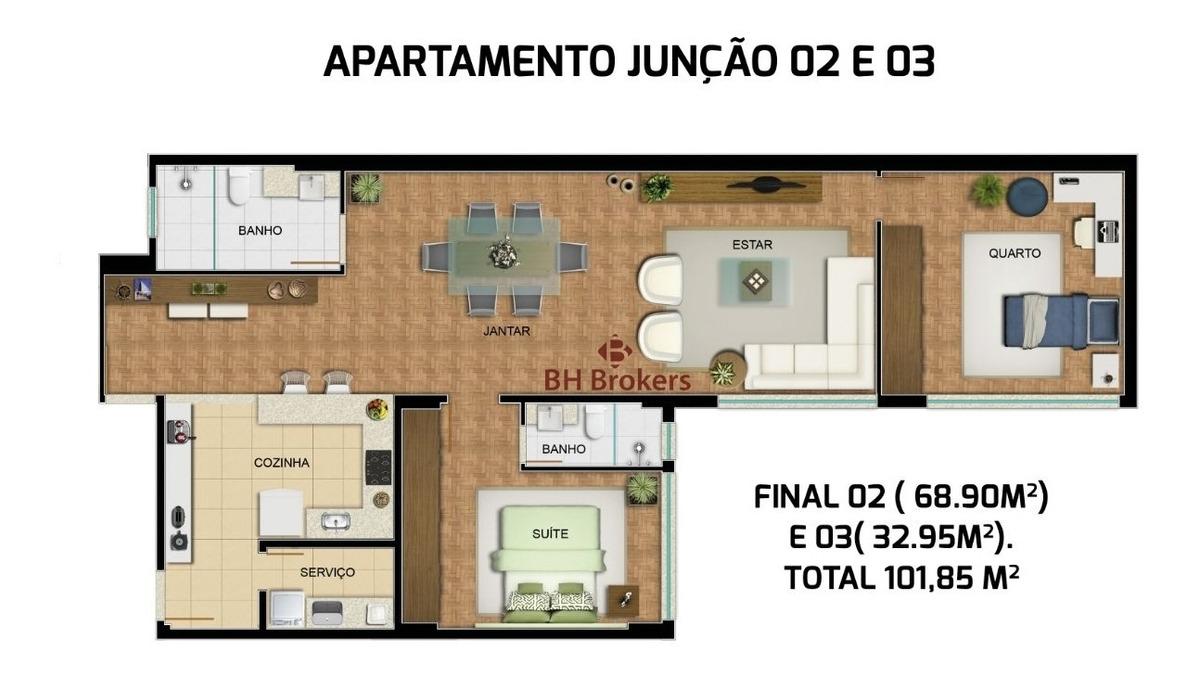 apartamento com 2 quartos para comprar no centro em belo horizonte/mg - 14254