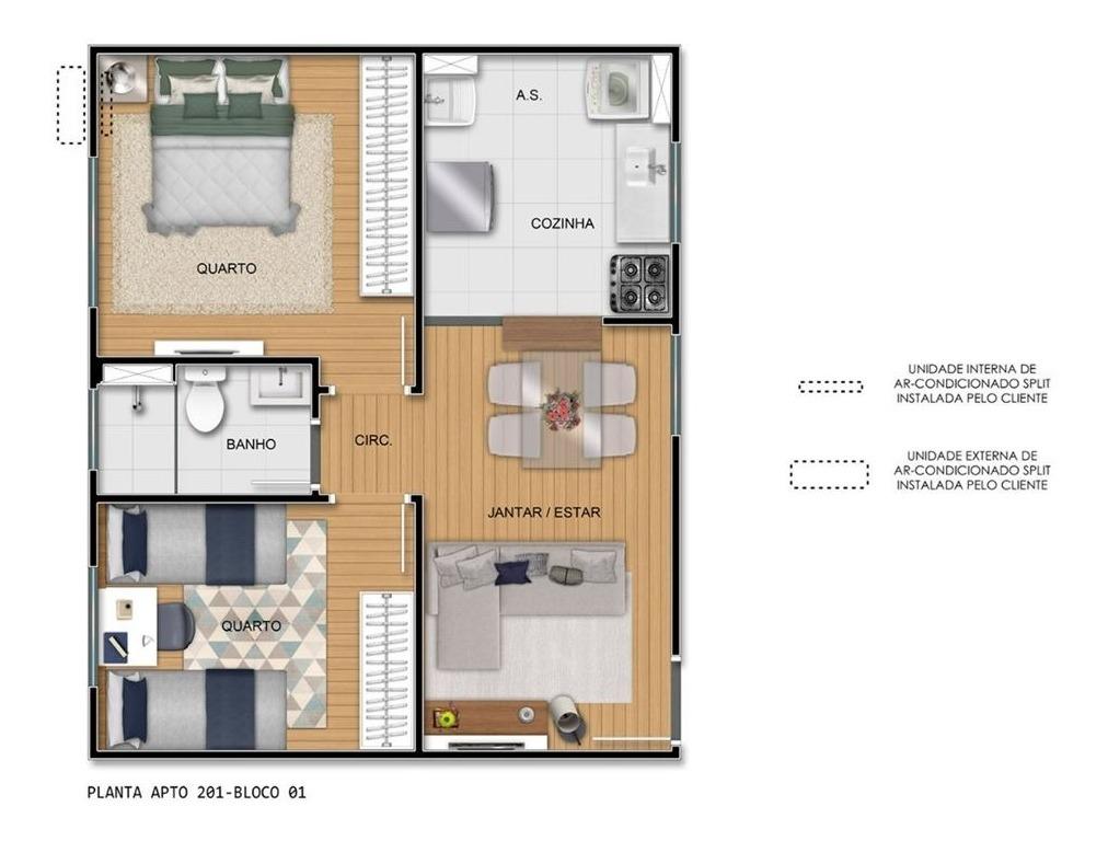 apartamento com 2 quartos, sala,cozinha, sala de jantar