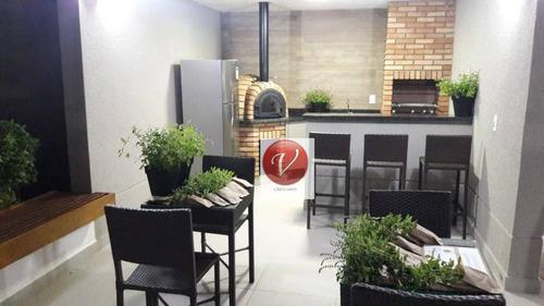 apartamento com 3 dormitórios para alugar, 76 m² por r$ 2.300/mês - vila floresta - santo andré/sp - ap9145